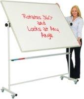 Spaceright Non Magnetic Mobile Swivel Writing White Boards - 1800 x 1200mm