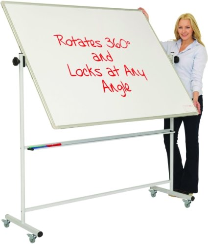 Spaceright Magnetic Mobile Swivel Writing White Boards - 900 x 1200mm