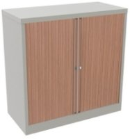 Bisley Essentials Tambour Low Cupboard Beech / Silver