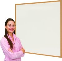 Spaceright Eco Friendly Wood Effect Framed Writing White Boards - 900 x 600mm