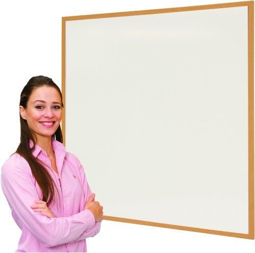 Spaceright Eco Friendly Wood Effect Framed Writing White Boards - 1200 x 1200mm