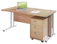 Dams Bulk Rectangular Desk with Twin Cantilever Legs - (w) 1200mm x (d) 800mm & 3 Drawer Pedestal