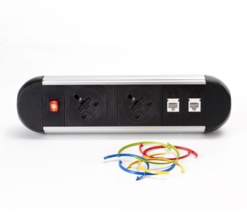 ABL Chroma Desktop Module - 2 x UK Power & Data