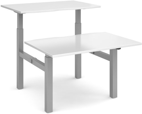 Dams Height Adjustable Electronic Duo Desk - (w) 1200mm x (d) 1650mm