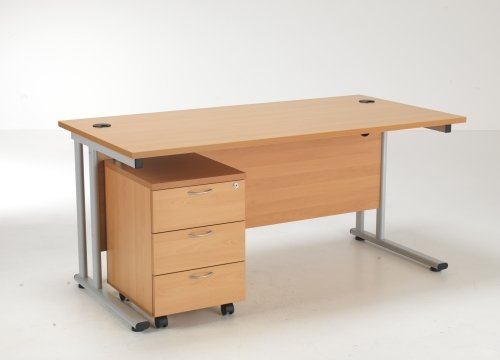 TC Office Lite Rectangular Desk (w) 1600mm x (d) 800mm & 3 Drawer Mobile Pedestal