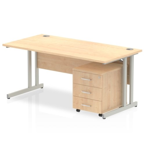 Gentoo Bulk Rectangular Desk (w) 1600mm x (d) 800mm & 3 Drawer Mobile Pedestal