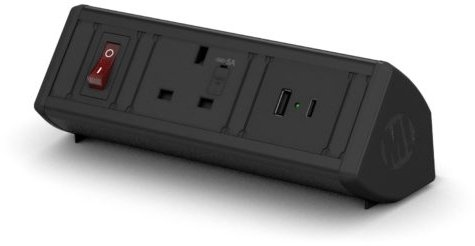 Metalicon Boost Power Module- 1 Mains Power Sockets,1 USB-A, 1 USB-C Charge Socket, 2m Lead