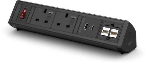 Metalicon Boost Power Module- 2 Mains Power Sockets, 2 Data, 1 USB-A, 1 USB-C Charge Socket, 3m Lead