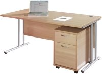 Gentoo Rectangular Desk (w) 1400mm x (d) 800mm & 2 Drawer Mobile Pedestal
