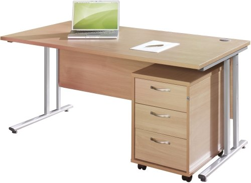 Gentoo Rectangular Desk (w) 1600mm x (d) 800mm & 3 Drawer Mobile Pedestal