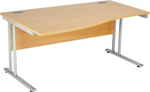 Fraction 2 Wave Desk with Twin Cantilever Legs - (w) 1600mm x (d) 800mm-1000mm