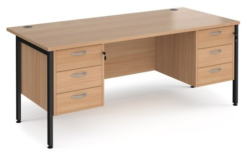 Dams Maestro 25 H-Frame Rectangular Desk with 6 Shallow Drawers - (w) 1800mm x (d) 800mm