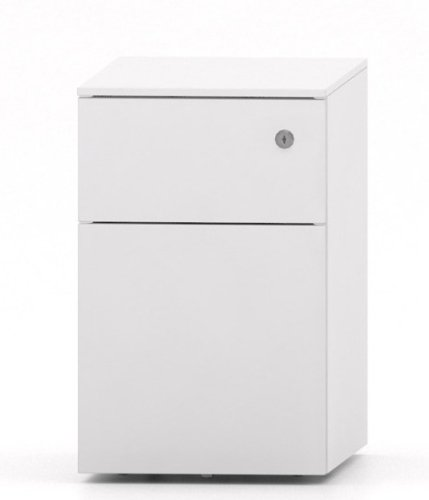 Metalicon Cube Narrow & Low Mobile Steel Pedestal 1 Personal Drawer 1 File Drawer