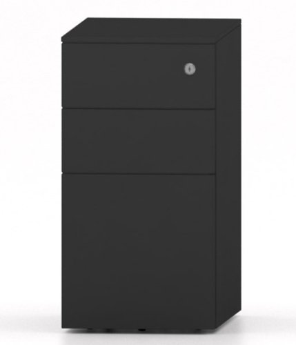 Metalicon Cube Narrow Mobile Steel Pedestal 2 Personal Drawers 1 File Drawer