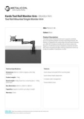 Metalicon Kardo PMSA521 Tool Rail Monitor Arm Specification Sheet
